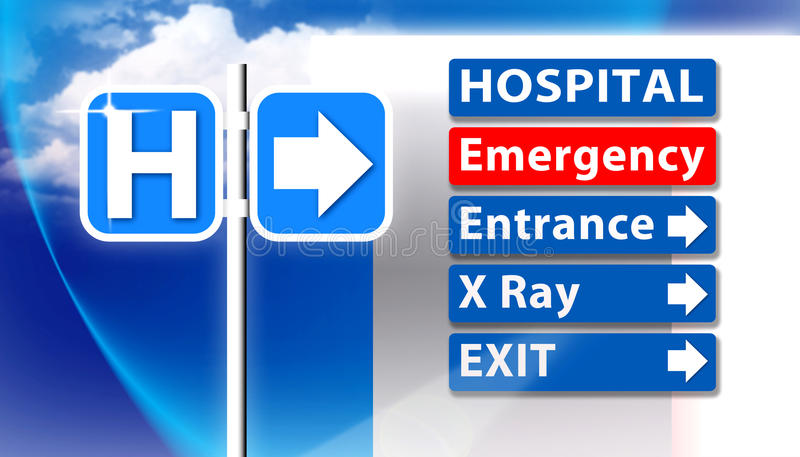 Hospital Emergency Sign. An image showing a Hospital Emergency sign with arrow direction to emergency entrance x ray and exit of hospital surgical departments stock illustration
