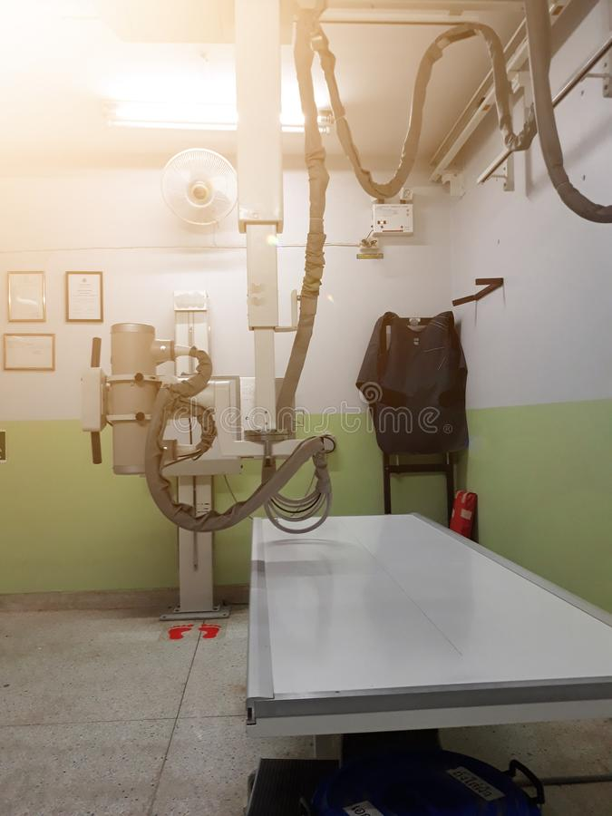 In the hospital examination room, there is a large body x-ray machine. Is a medical tool stock photos