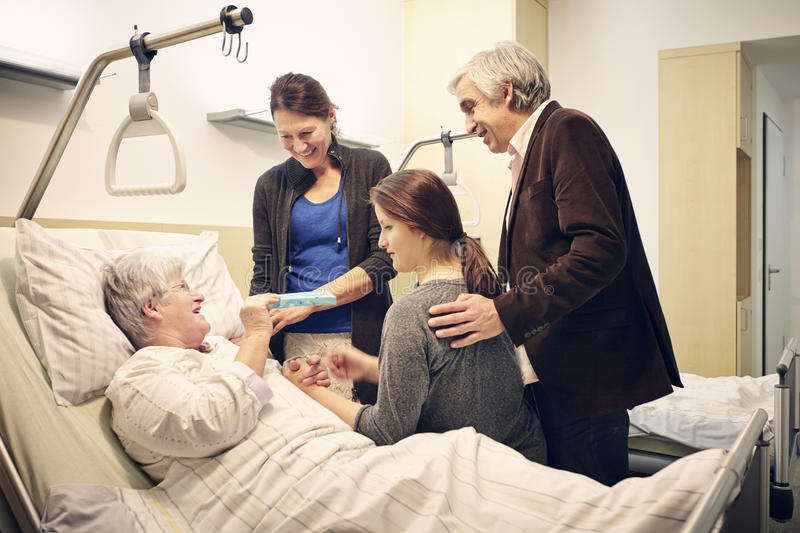Hospital family medical visit stock photography