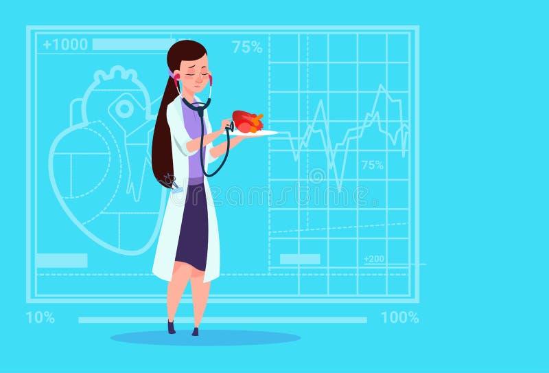 Hospital femenino del trabajador de las clínicas médicas del estetoscopio del doctor Cardiologist Examining Heart With ilustración del vector