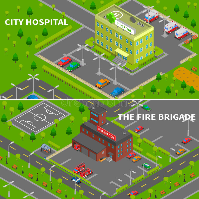 Hospital And Fire Station Isometric Banners royalty free illustration