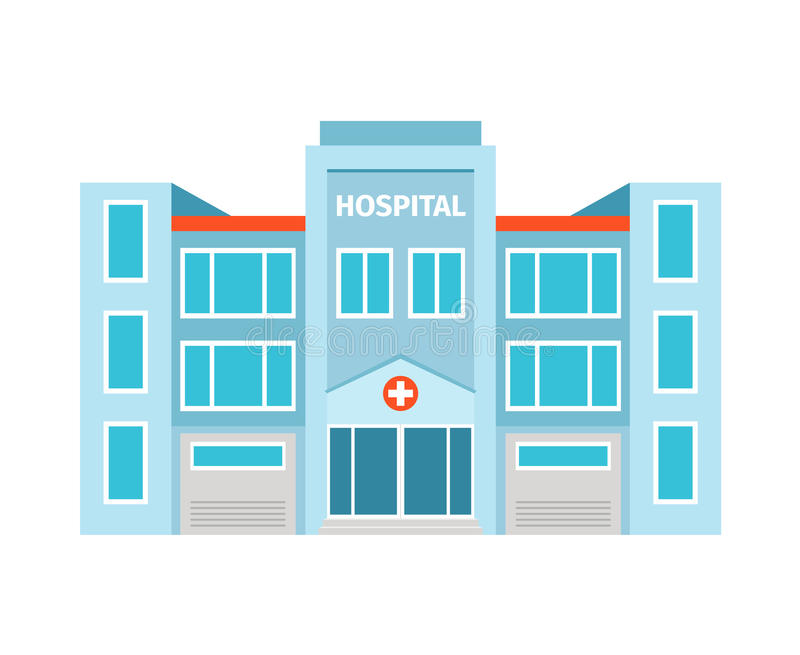 Hospital flat building icon. On white backdrop. Vector illustration royalty free illustration