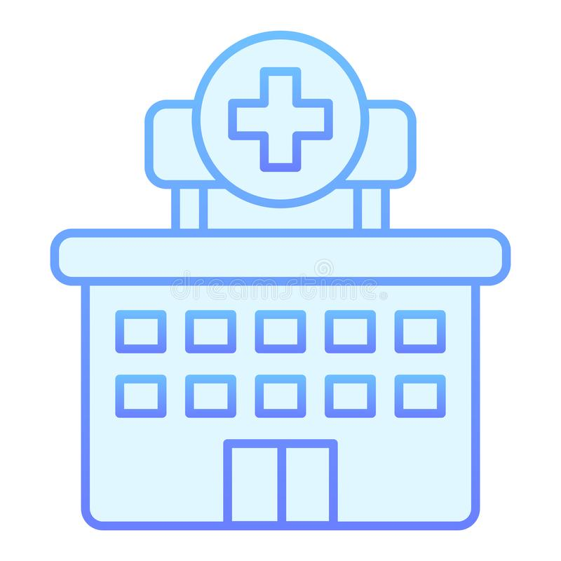 Hospital flat icon. Clinic blue icons in trendy flat style. Building gradient style design, designed for web and app vector illustration