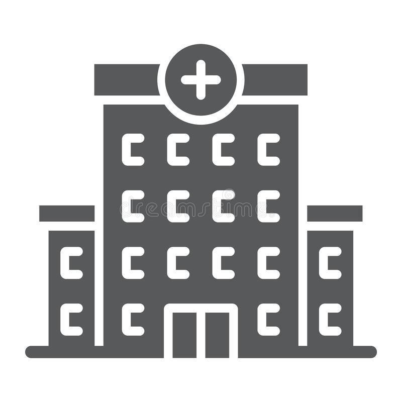 Hospital glyph icon, architecture and building stock illustration