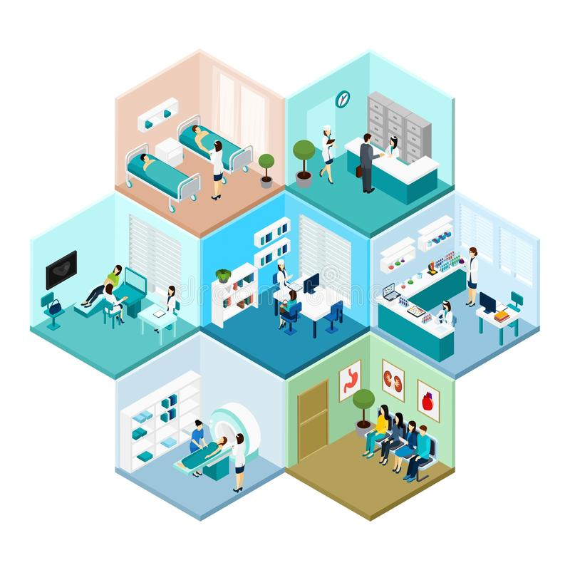 Hospital Hexagonal Tessellated Pattern Isometric Composition royalty free illustration