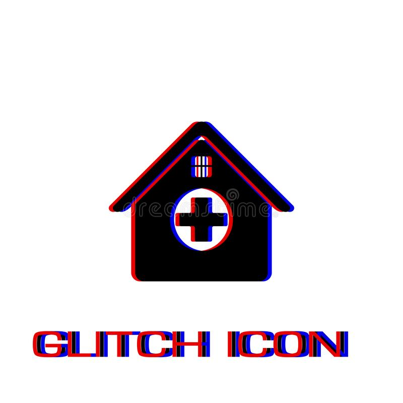 Hospital icon flat. Simple pictogram - Glitch effect. Vector illustration symbol vector illustration