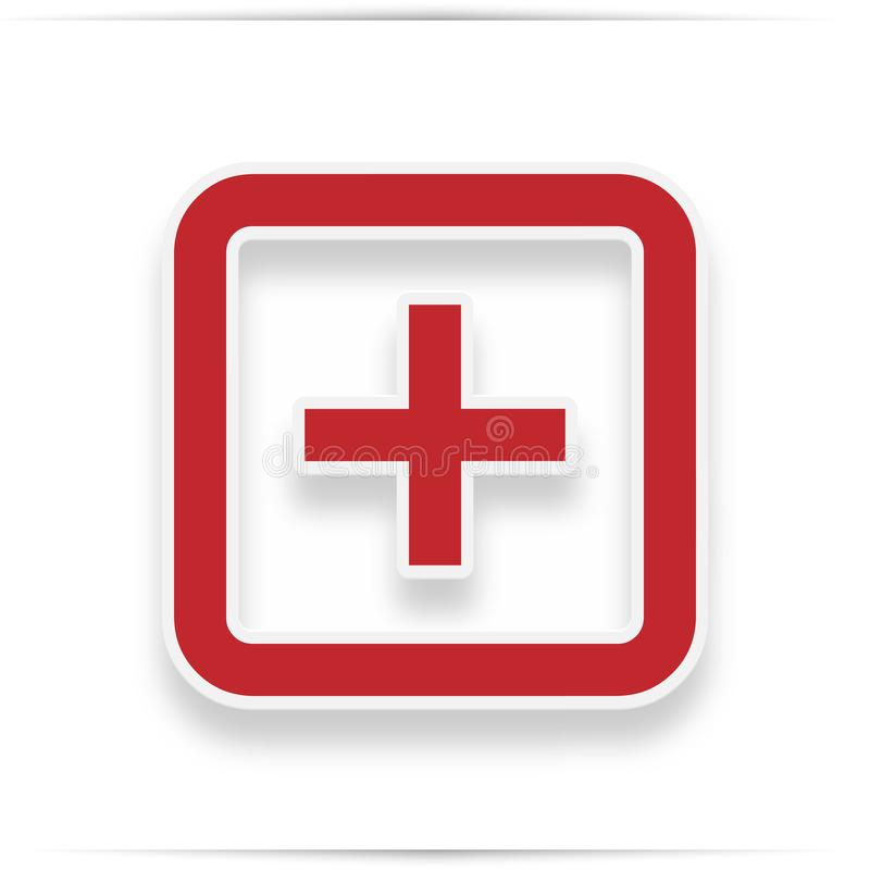 Hospital icon. Style is flat symbol, red color, rounded angles, white background. Icon with realistic shadow vector illustration