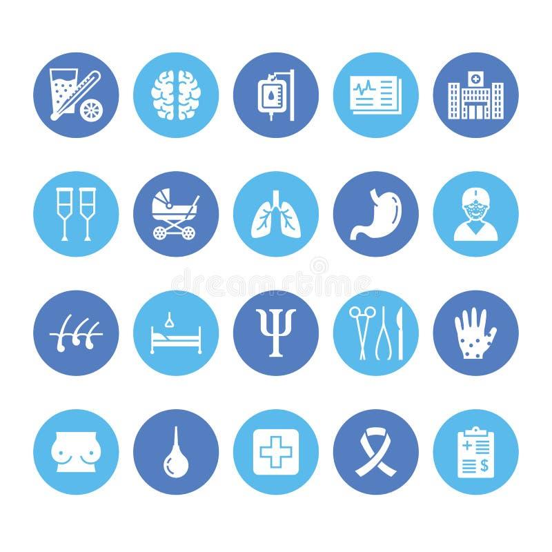Hospital, iconos planos médicos del glyph Órganos humanos, estómago, cerebro, gripe, oncología, cirugía plástica, pecho de la psi libre illustration