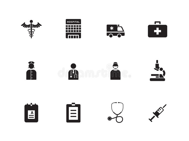 Download Hospital Icons On White Background. Stock Vector - Illustration: 33445023