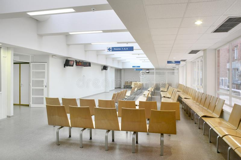 Hospital indoor waiting area. Health center modern interior royalty free stock photo