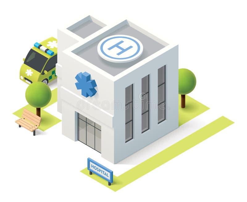 Hospital isométrico do vetor ilustração stock
