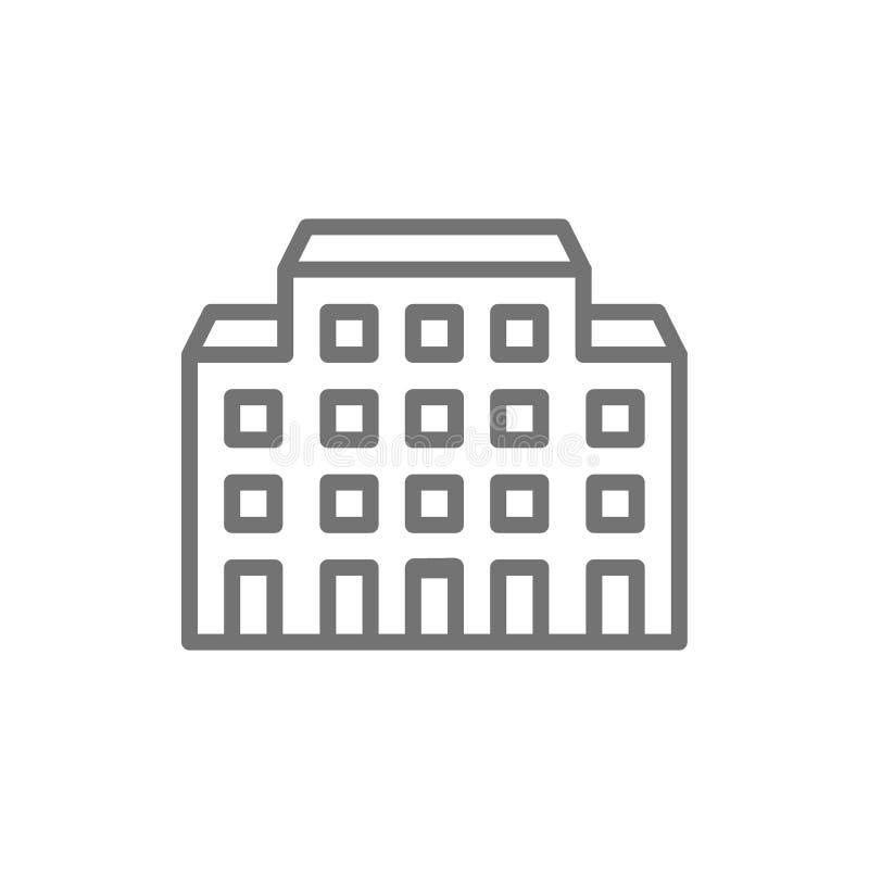 Hospital, línea icono de la clínica de reposo ilustración del vector