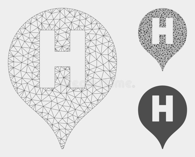 Hospital Letter Marker Vector Mesh 2D Model and Triangle Mosaic Icon. Mesh hospital letter marker model with triangle mosaic icon. Wire carcass polygonal network stock illustration