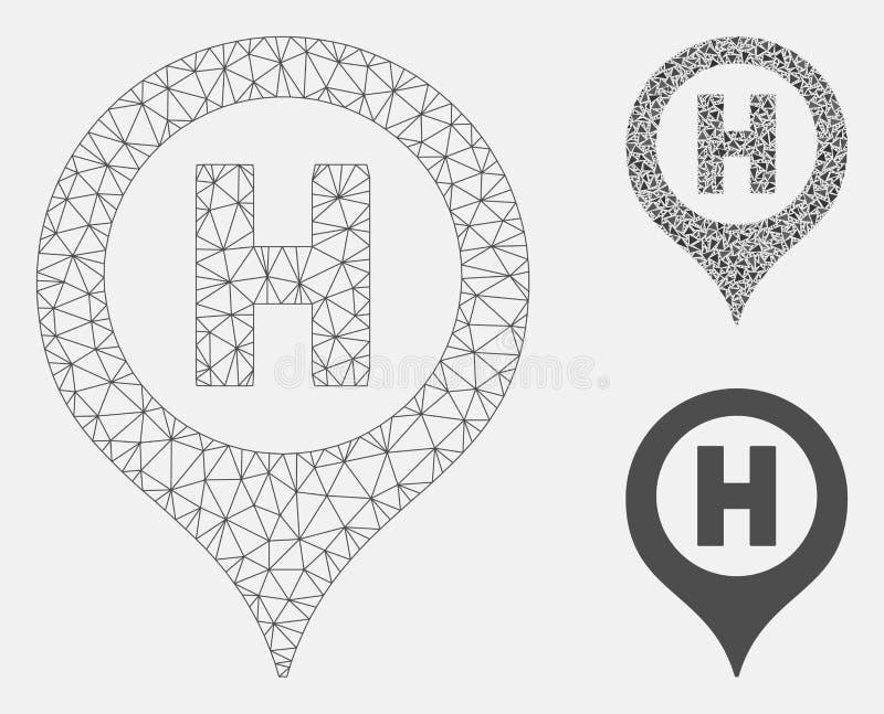 Hospital Letter Marker Vector Mesh 2D Model and Triangle Mosaic Icon. Mesh hospital letter marker model with triangle mosaic icon. Wire frame triangular mesh of stock illustration