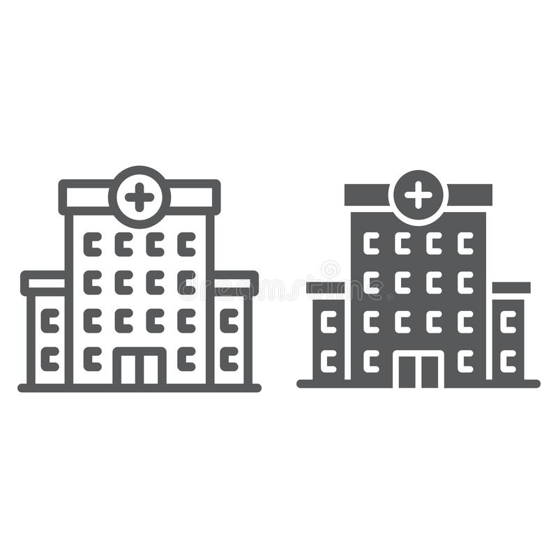Hospital line and glyph icon, architecture vector illustration
