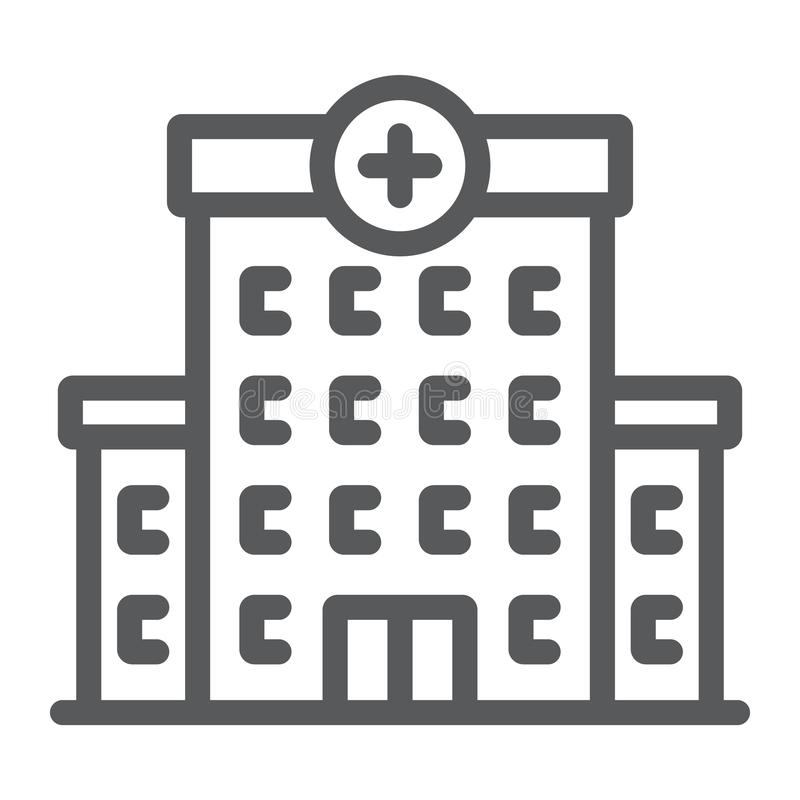 Hospital line icon, architecture and building stock illustration