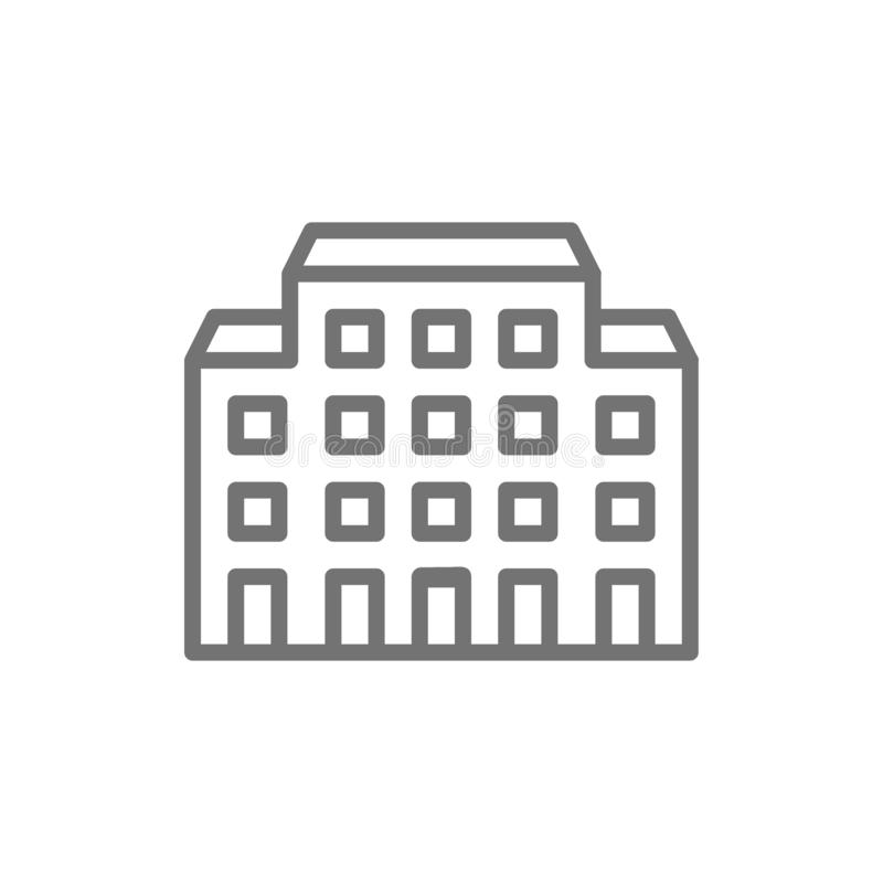 Hospital, linha ícone do lar de idosos ilustração do vetor