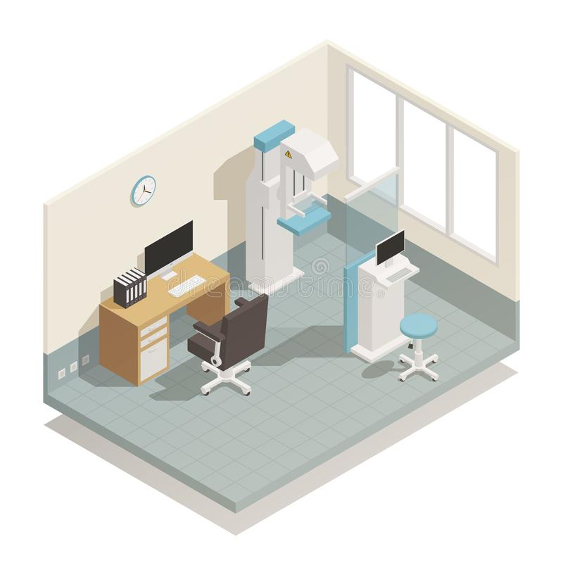 Hospital Medical Equipment Isometric Composition royalty free illustration