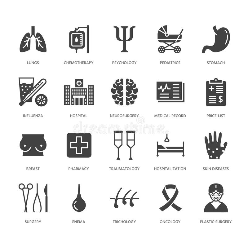 Hospital, medical flat glyph icons. Human organs, stomach, brain, flu, oncology, plastic surgery, psychology breast royalty free illustration