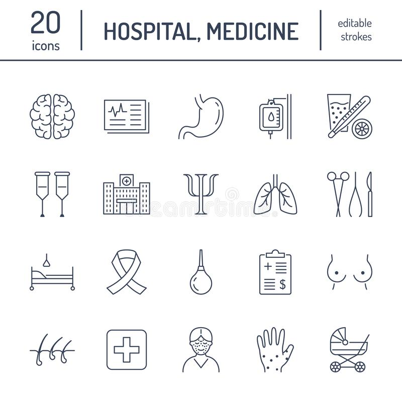 Hospital, medical flat line icons. Human organs, stomach, brain, flu, oncology, plastic surgery, psychology, breast. Hospital, medical flat line icons. Human royalty free illustration