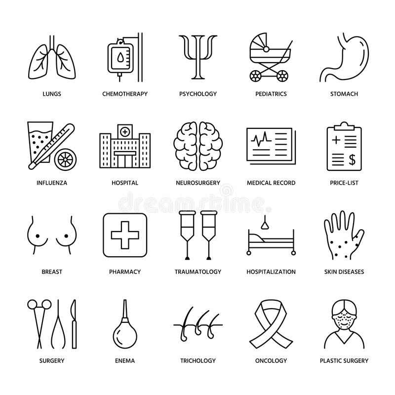 Hospital, medical flat line icons. Human organs, stomach, brain, flu, oncology, plastic surgery, psychology, breast. Hospital, medical flat line icons. Human stock illustration