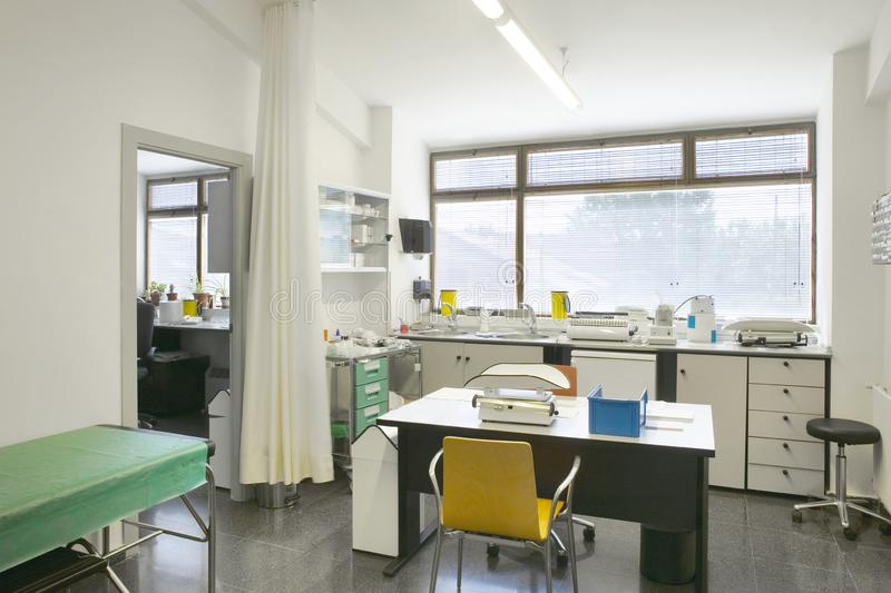 Hospital medical pediatric examination room. Pediatrician health. Care diagnosis. Interior stock image