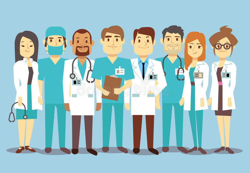 Hospital medical staff team doctors nurses surgeon vector flat illustration. Of character doctor with stethoscope, reliable team of doctors royalty free illustration
