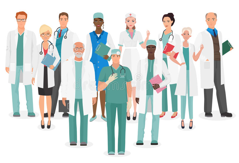 Hospital medical staff Team doctors together collection. Group of doctors and nurses people character set. stock illustration