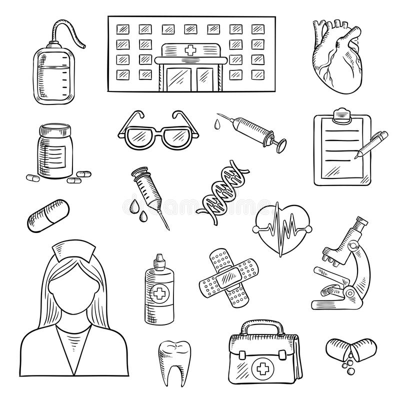 Free Coloring Pages About First Aid: Hospital And Medicine Sketch Objects Stock Vector