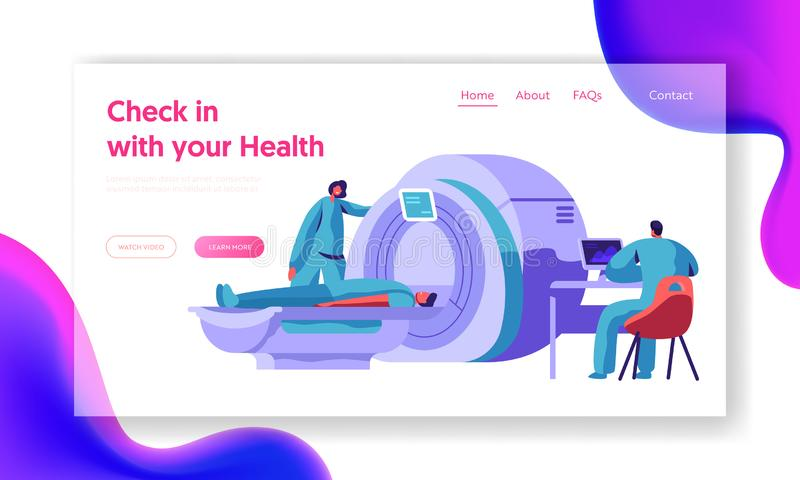 Hospital Mri Machine for Patient Brain Scan Landing Page. Doctor Research Man Character Health with Computer Tomography vector illustration