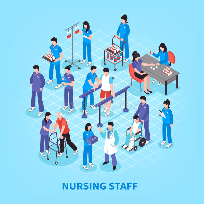 Hospital Nurses Flowchart Isometric Poster. Hospital staff nurses isometric flowchart infographic poster with lab tests rehabilitation and physiotherapy royalty free illustration