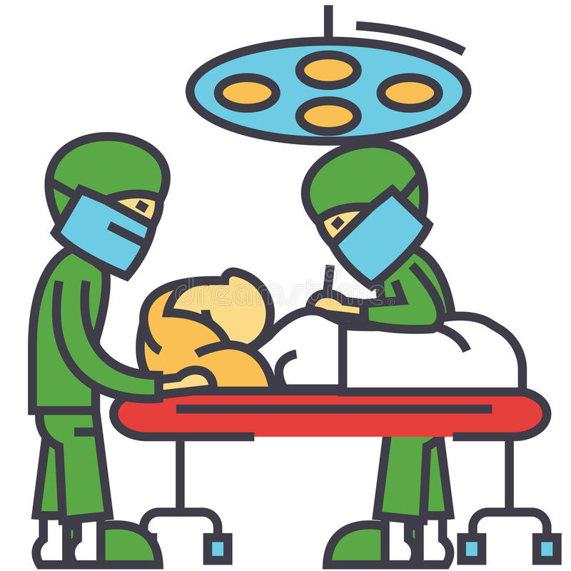 Hospital operating room with doctors surgery room surgery operation concept. stock illustration