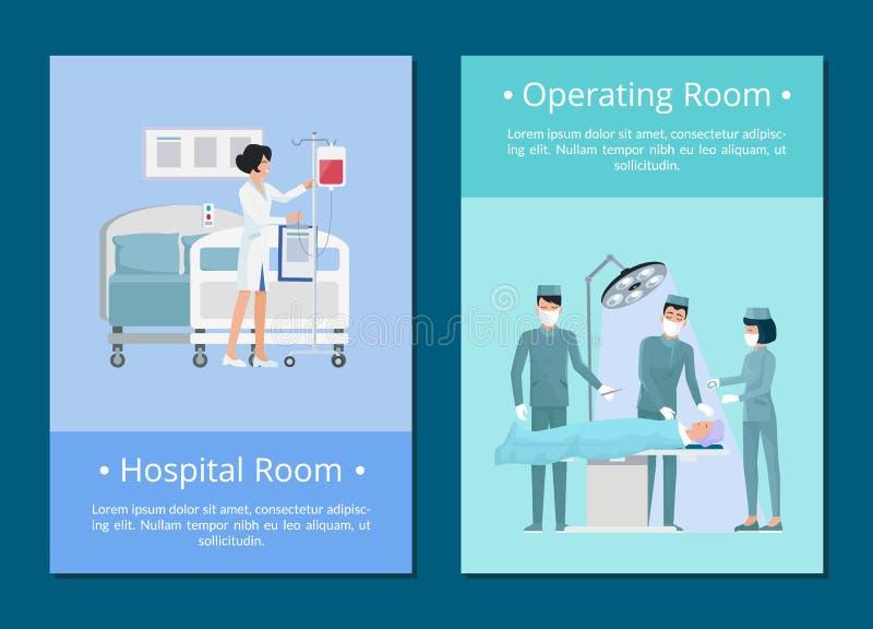 Hospital and Operating Room Vector Illustration stock illustration