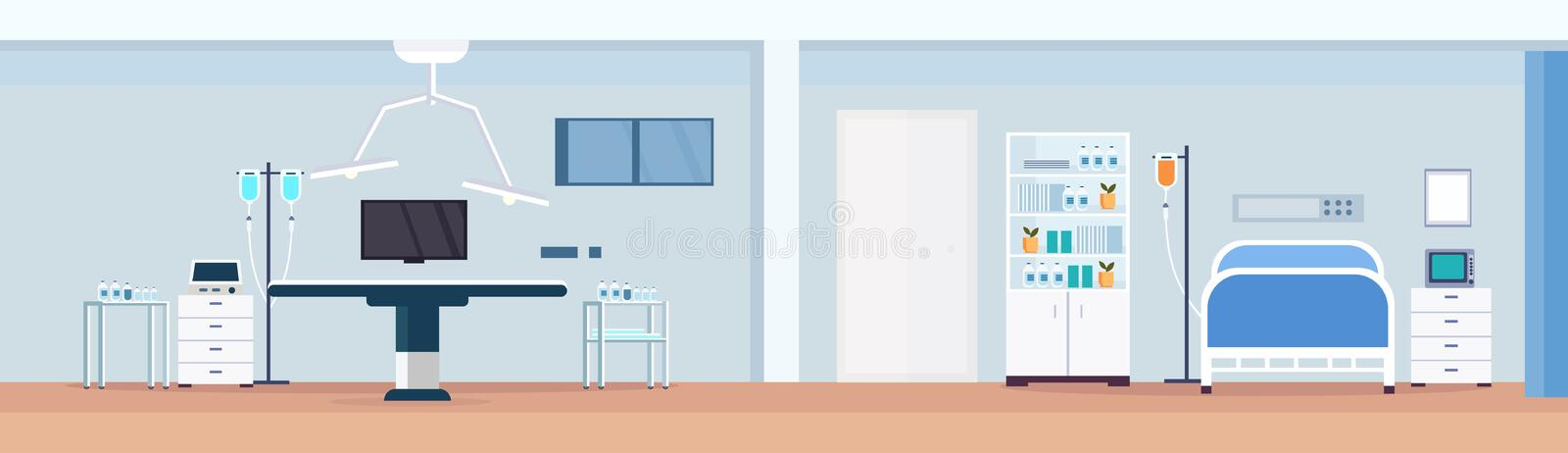 Hospital operating table clean medical room intensive therapy patient ward with nursing care bed empty no people modern. Clinic furniture horizontal vector royalty free illustration