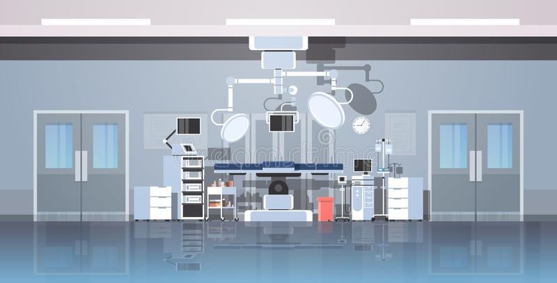 Hospital operating table clean medical surgery room intensive therapy modern equipment clinic interior horizontal banner. Vector illustration stock illustration