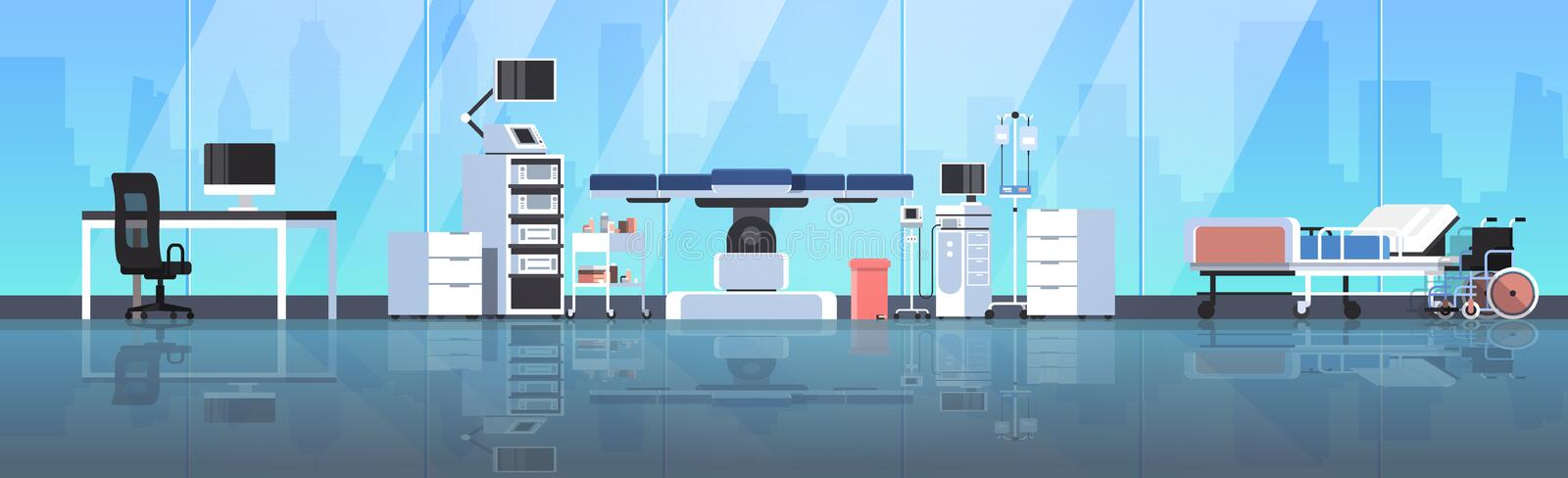 Hospital operating table clean medical surgery room modern equipment clinic interior medical worker doctor workplace. Glass wall cityscape background horizontal vector illustration