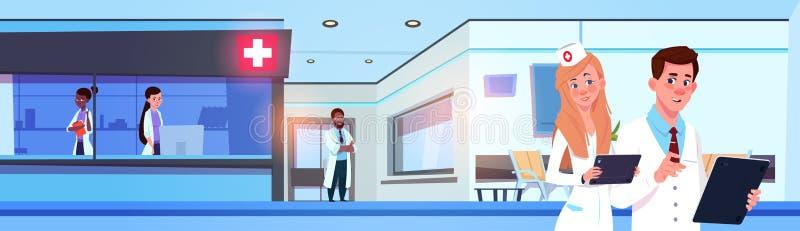 Hospital ou clínica moderna de Team Of Professional Doctors In que trabalham a bandeira horizontal ilustração royalty free