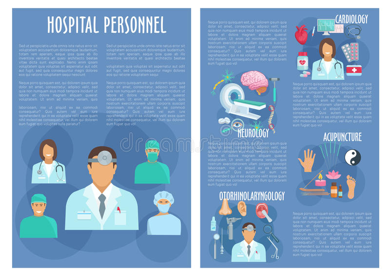 Hospital personnel doctors vector posters royalty free illustration