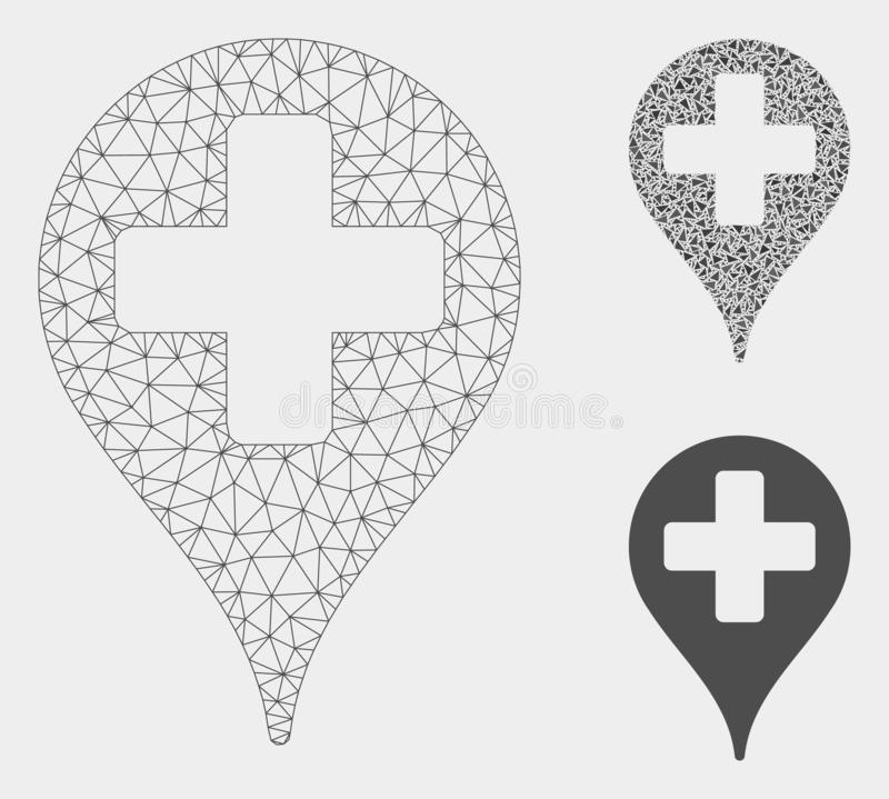 Hospital Place Marker Vector Mesh 2D Model and Triangle Mosaic Icon. Mesh hospital place marker model with triangle mosaic icon. Wire frame polygonal mesh of royalty free illustration