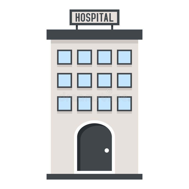 Hospital que construye el icono plano aislado en blanco ilustración del vector