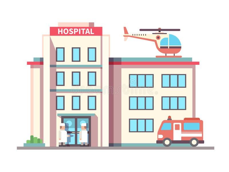Hospital que construye estilo plano ilustración del vector