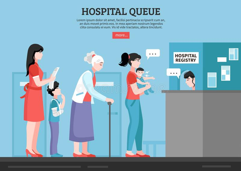 Hospital Queue Illustration. Hospital queue with people room and registry service flat vector illustration vector illustration