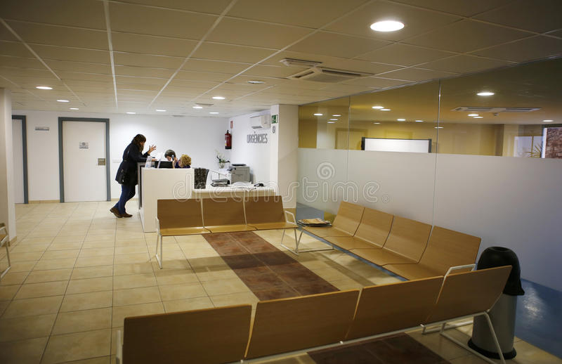 Hospital reception area. Reception and waiting room on a public hospital in the Spanish island of Majorca stock image