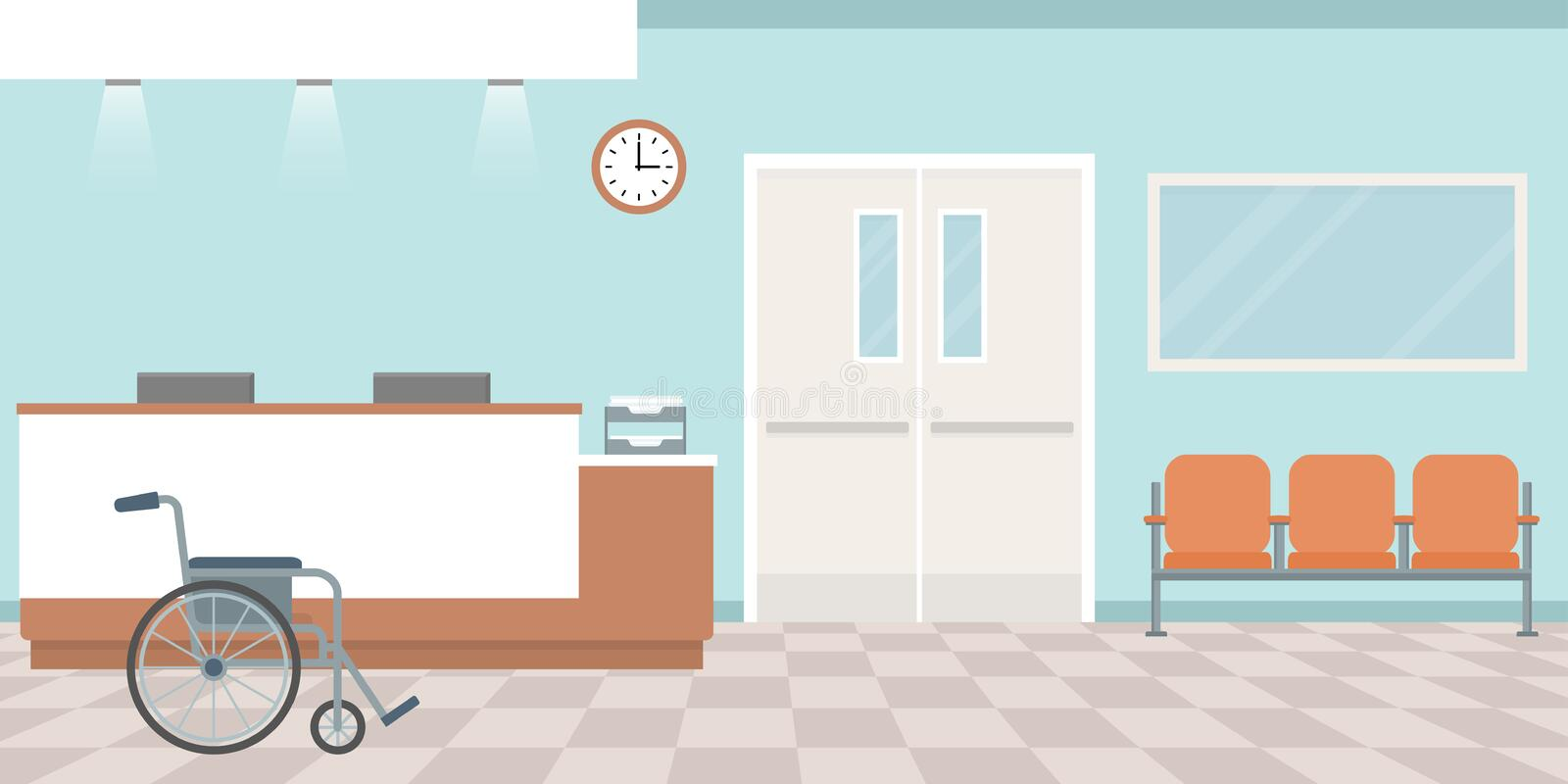 Hospital reception. Empty nurses station. Corridor with armchairs. stock illustration