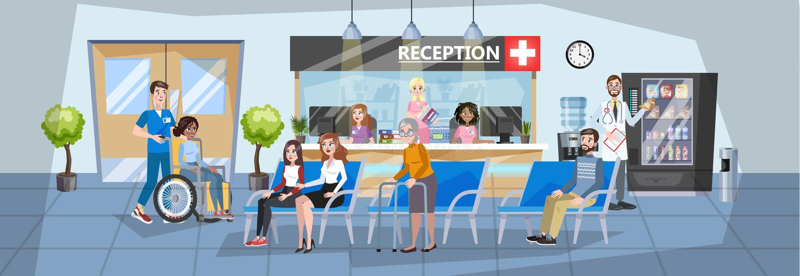 Hospital reception interior. People waiting in queue stock illustration