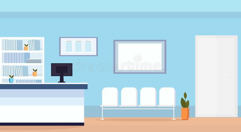 Hospital reception waiting hall with seats empty no people medical clinic interior horizontal flat stock illustration