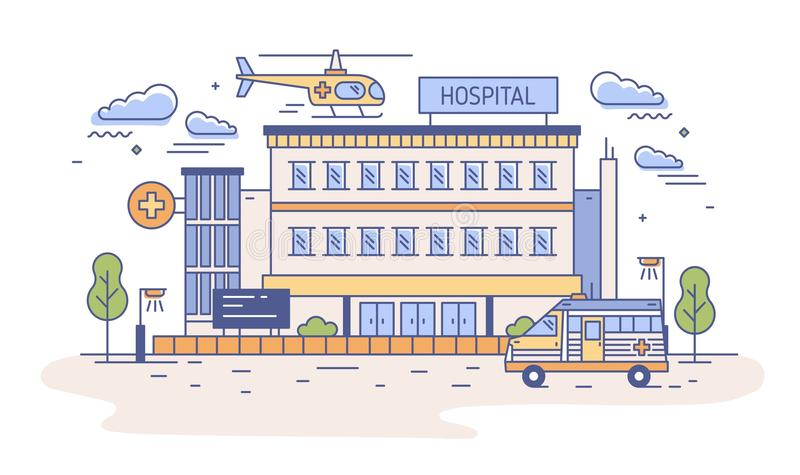 Hospital, rehabilitation center or emergency department building with helicopter landing on top of it and ambulance vector illustration