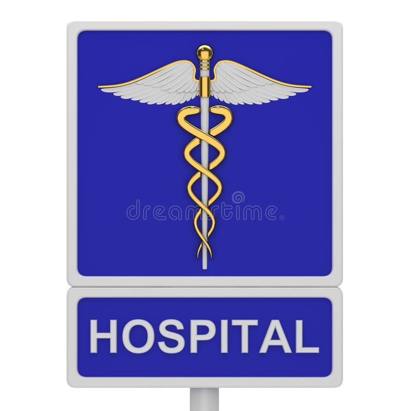 Hospital road sign. With a picture caduceus on a white background royalty free illustration
