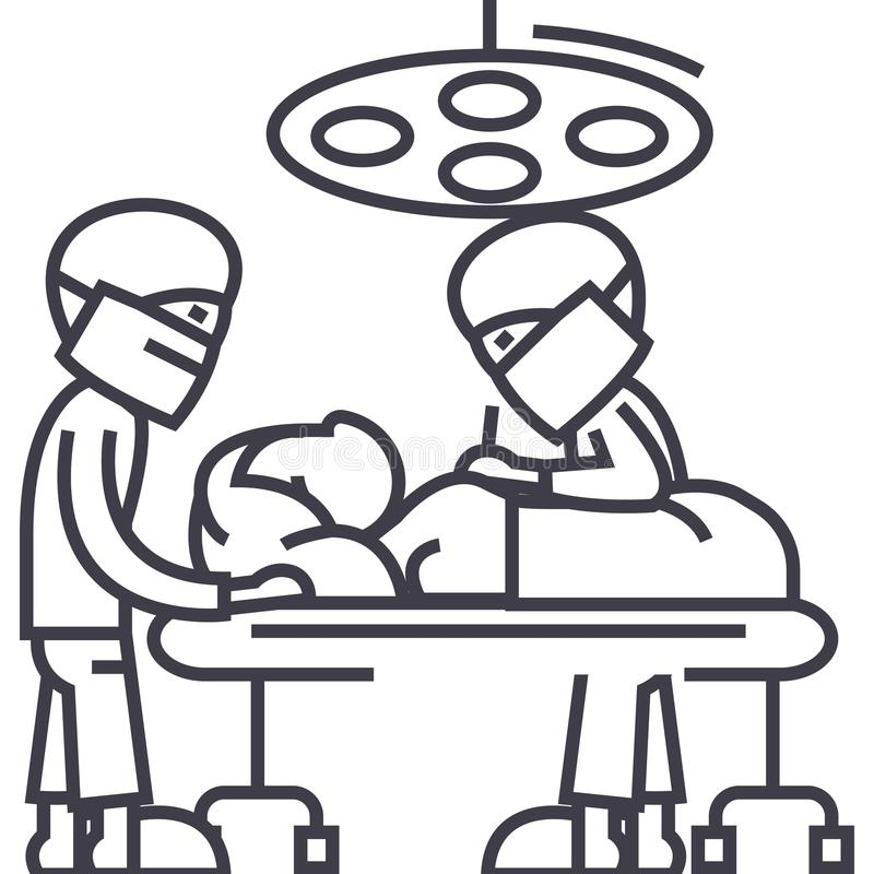 Hospital room with doctors,surgery operation vector line icon, sign, illustration on background, editable strokes royalty free illustration