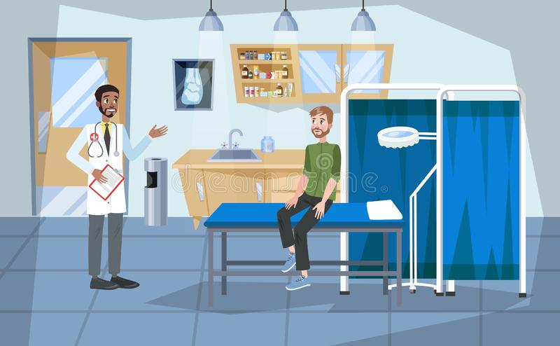 Hospital room interior. Doctor and patient inside royalty free illustration